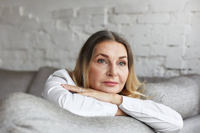 mature woman staring off