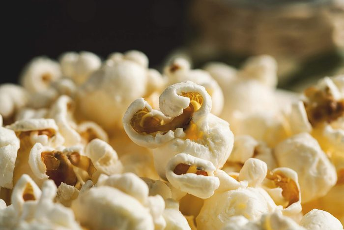 Popped popcorn up close