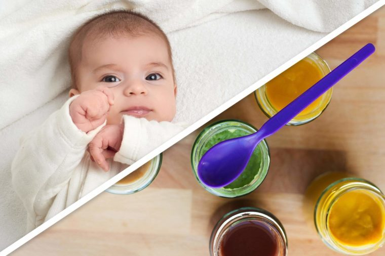 baby; homemade baby food jars with spoon