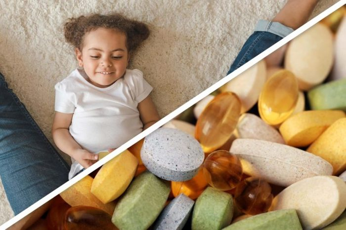 toddler girl; assortment of supplement pills and capsules