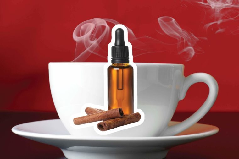 Cinnamon oil over a steaming cup