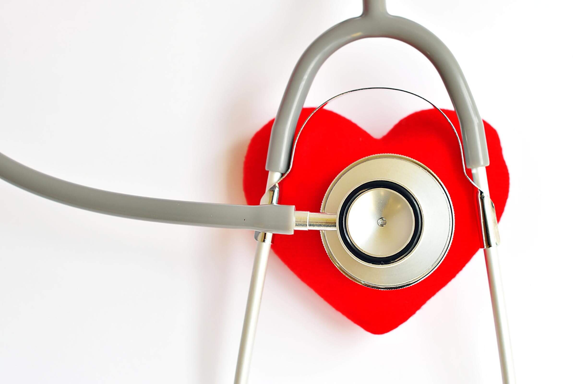 stethoscope on replica of a red heart