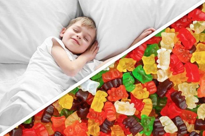 toddler boy; gummy bears