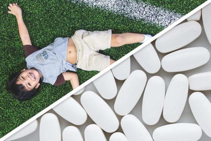 toddler boy; white pills