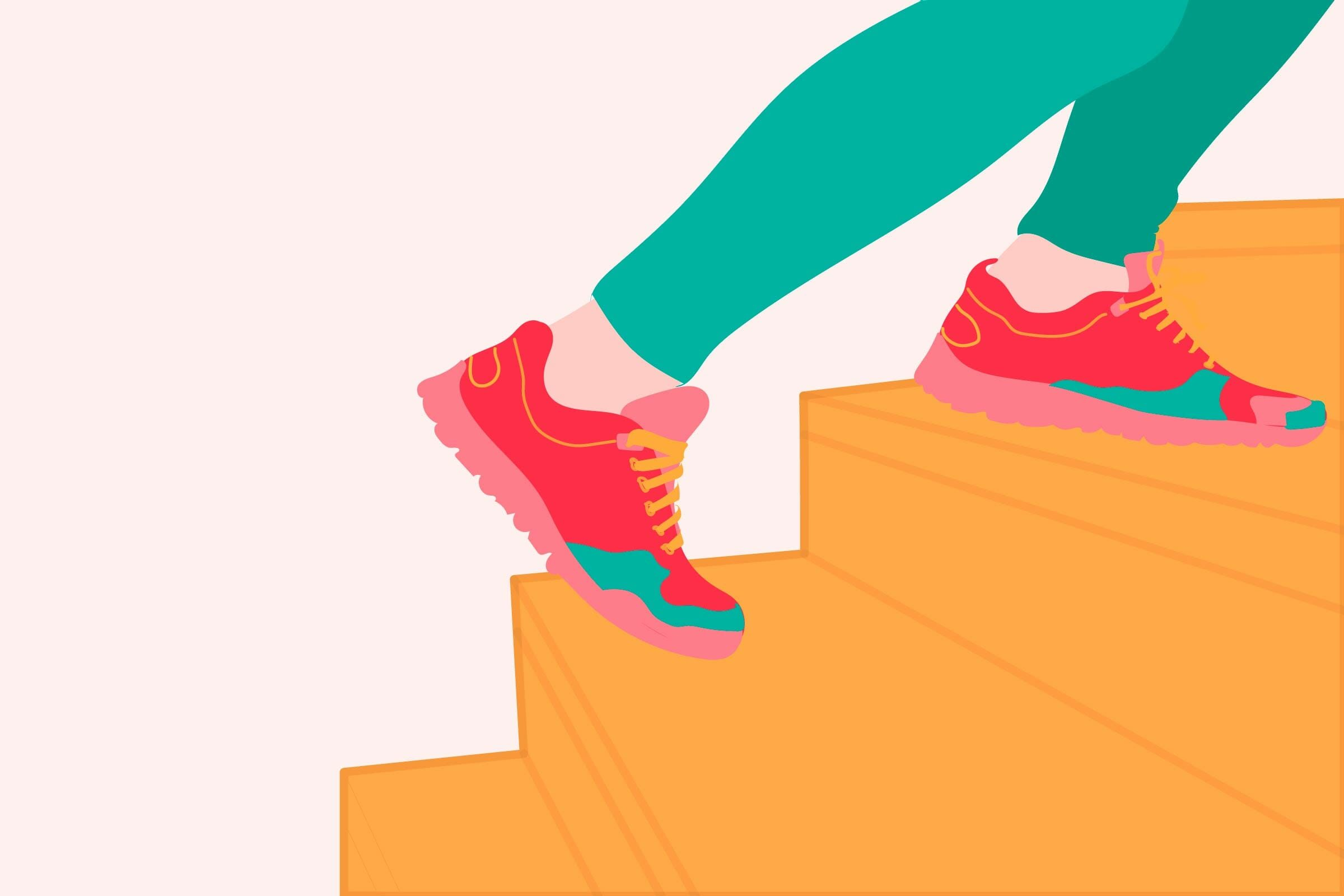 illustration of sneakers climbing stairs