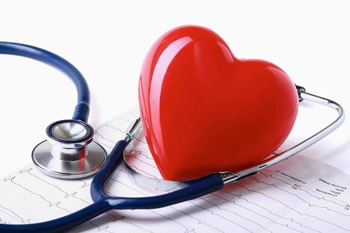 plastic heart with stethoscope