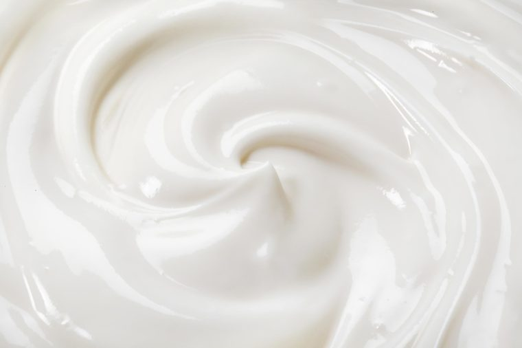 swirl of plain yogurt