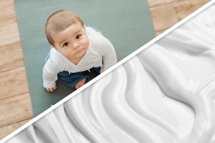 baby on yoga mat; plain yogurt