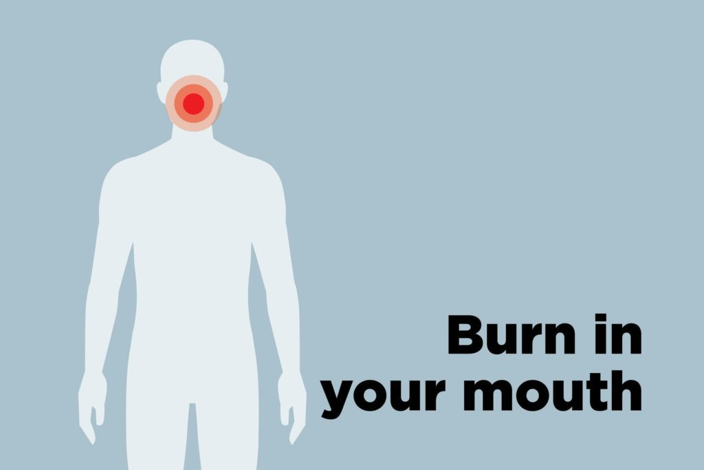 outline of body showing burned mouth hotspot