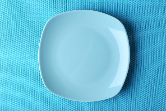 blue plate on a blue background