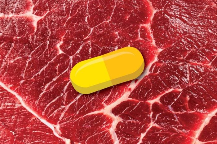 Illustration of a chromium capsule on a red meat background.