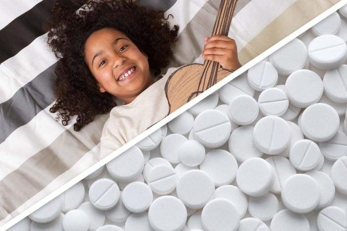 split image of child with aspirin