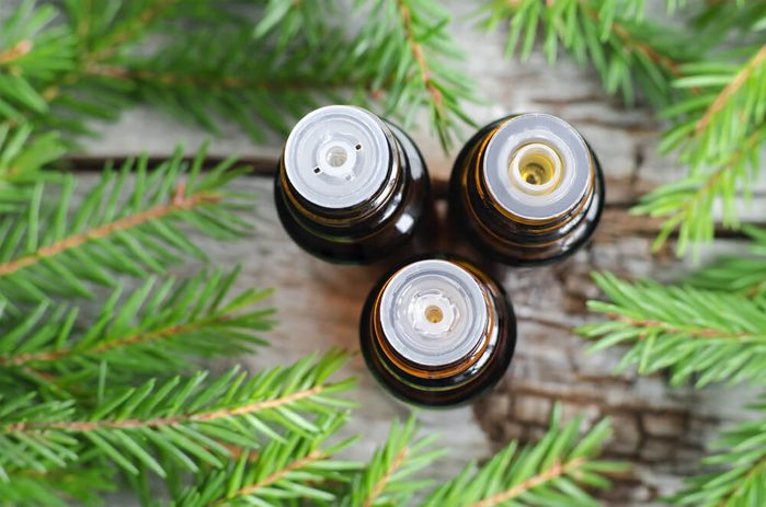Three bottles of essential oil and fir branches.