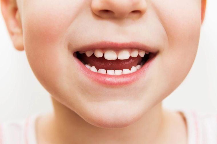up close shot of young child smiling