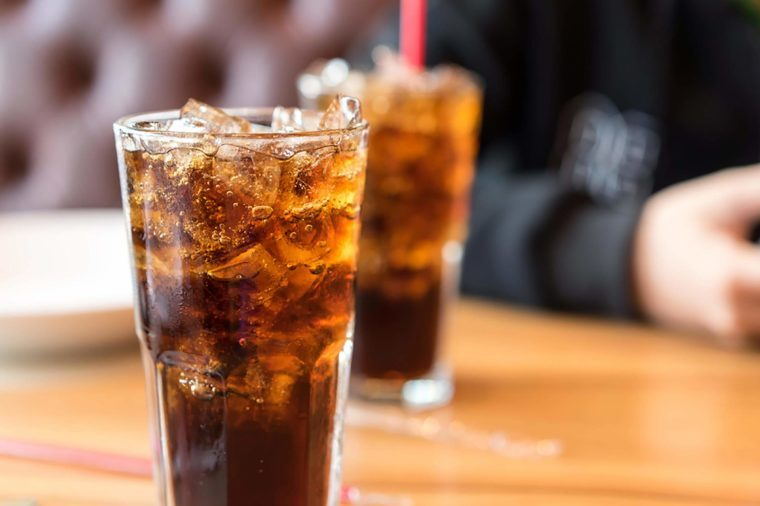 Soda in tall glasses with ice