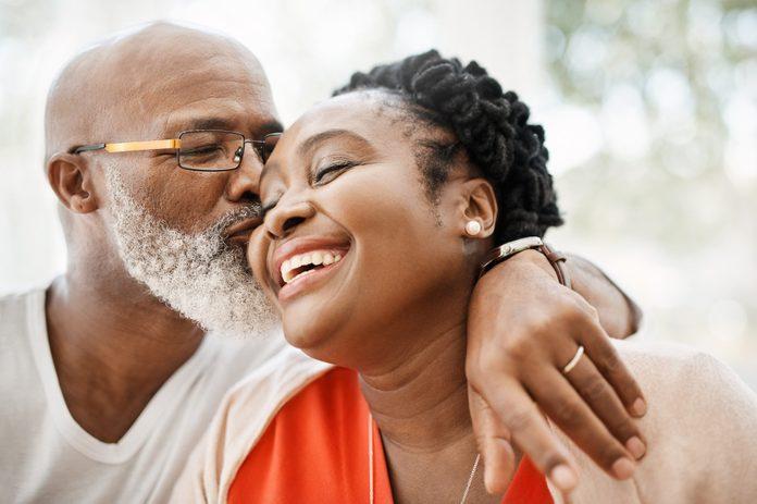 senior couple loving each other