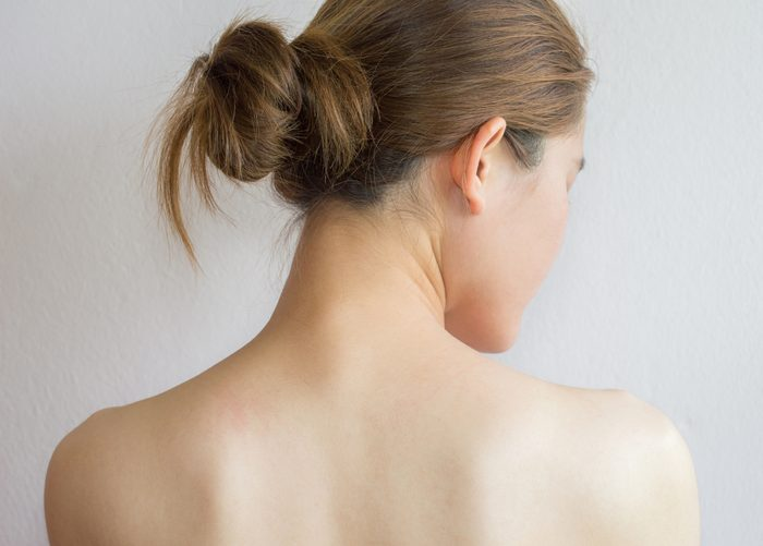 rear view of woman with hair in a bun