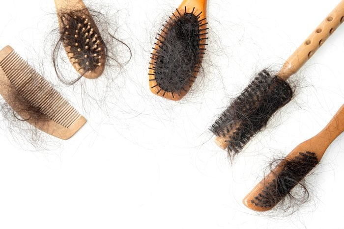 hair brushes with hair shot from above