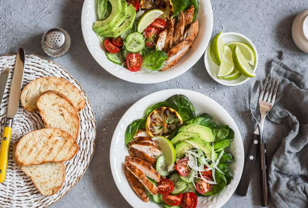 Grilled chicken and fresh vegetable salad