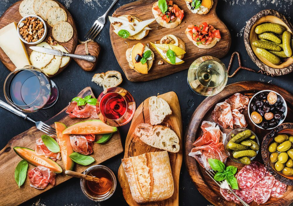 bread, vegetables, antipasto, Mediterranean diet