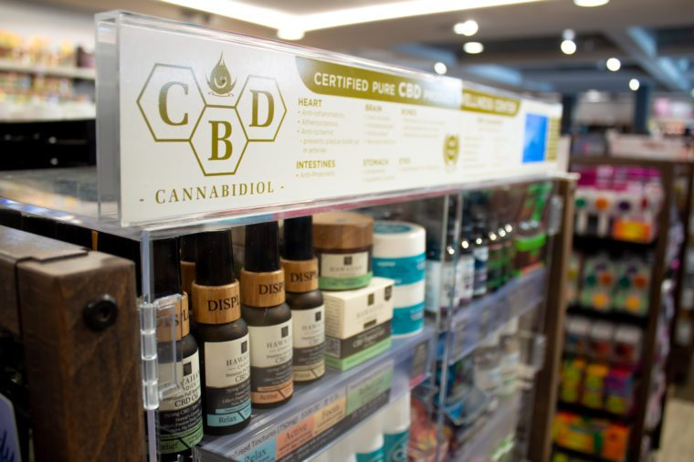 cbd oil and creams display
