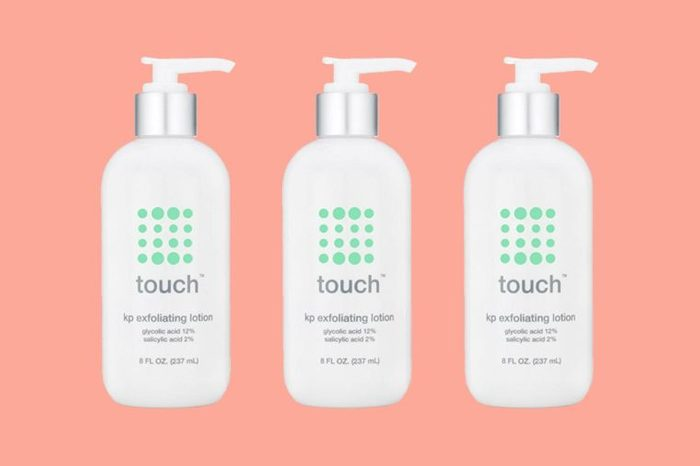 bottles of Touch brand exfoliating lotion