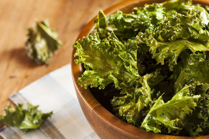 baked kale chips in a bowl