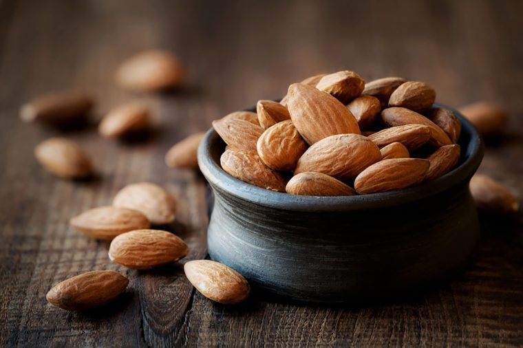 Ceramic container of almonds