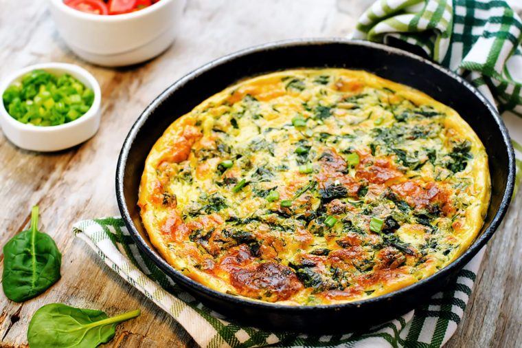 Baked veggie omelette.