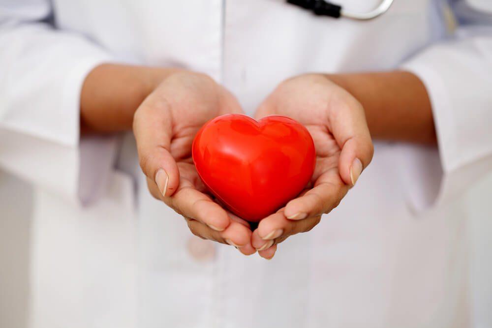 Red heart shape in doctor's hands
