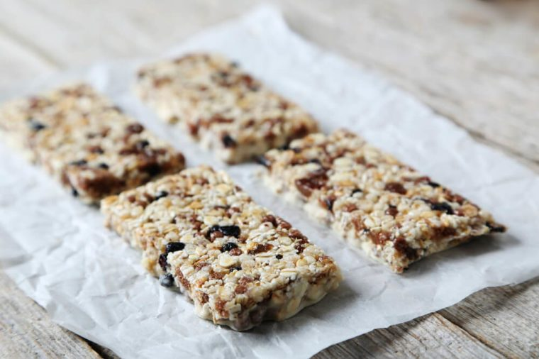 Granola bars on a grey wooden table
