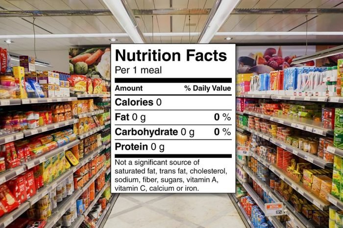 Nutrition facts label over a grocery aisle