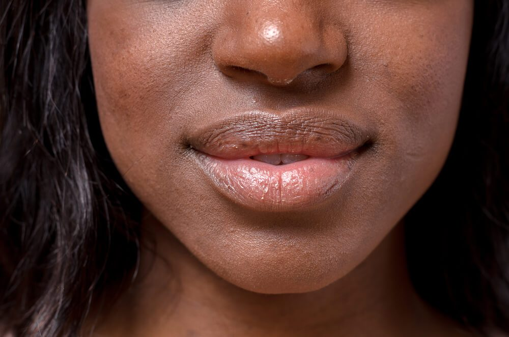 Close up Bare Lips and Nose of a young woman