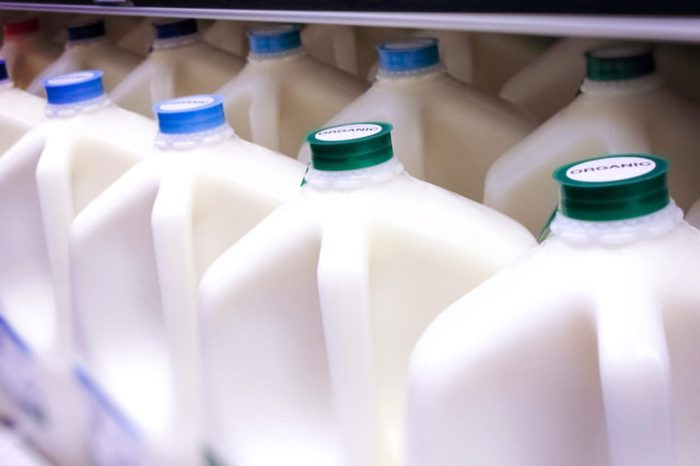 milk jugs at grocery store