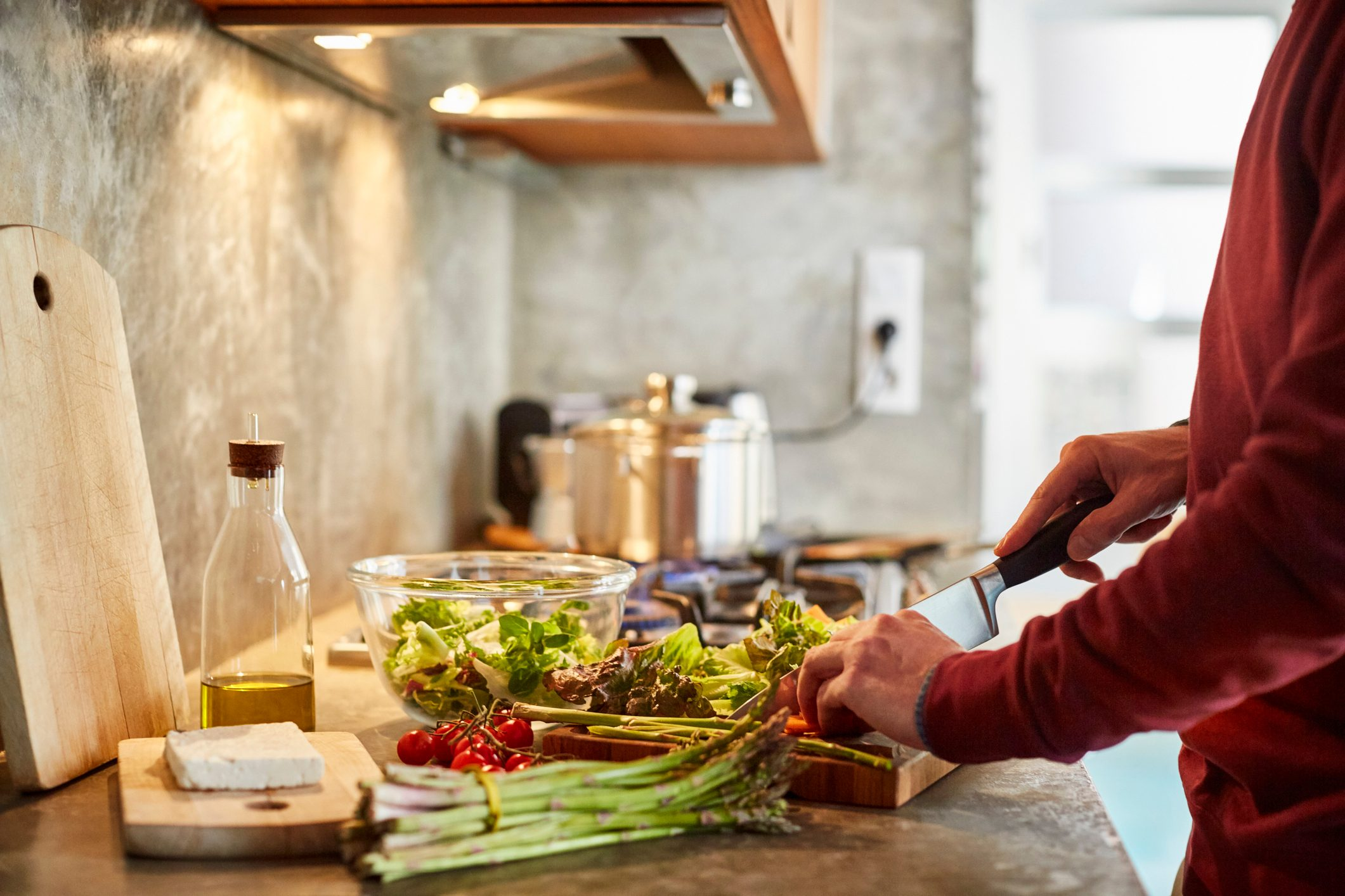 man preparing a healthy meal