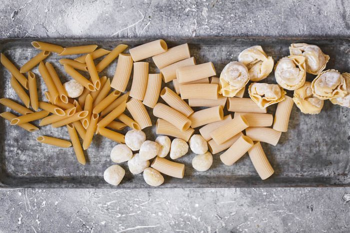 selection of uncooked pasta