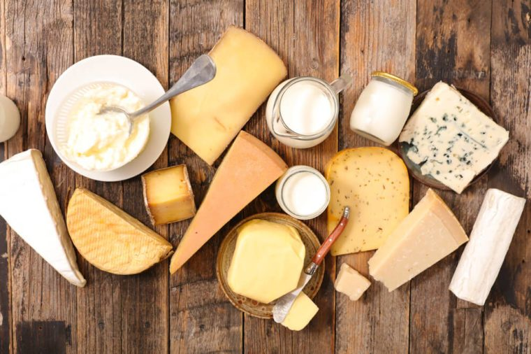 dairy products: cheese, yogurt, and milk