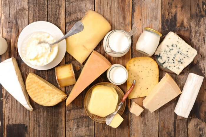 dairy products: cheese, yogurt, and milk