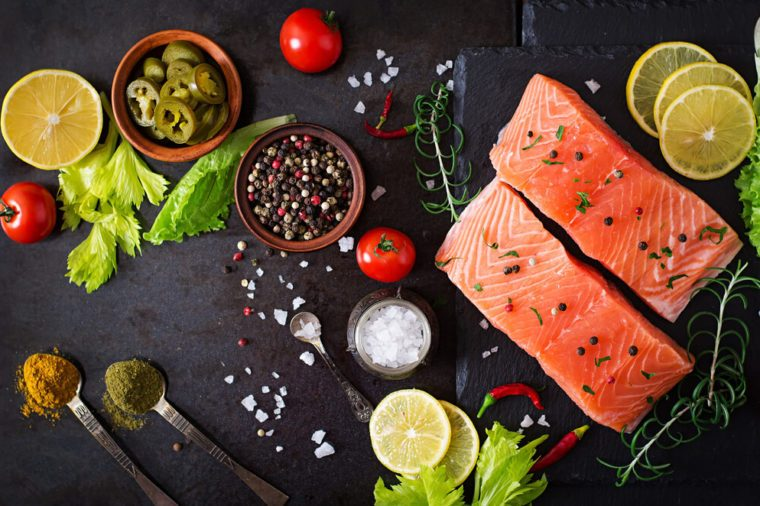 Raw salmon fillet and ingredients.