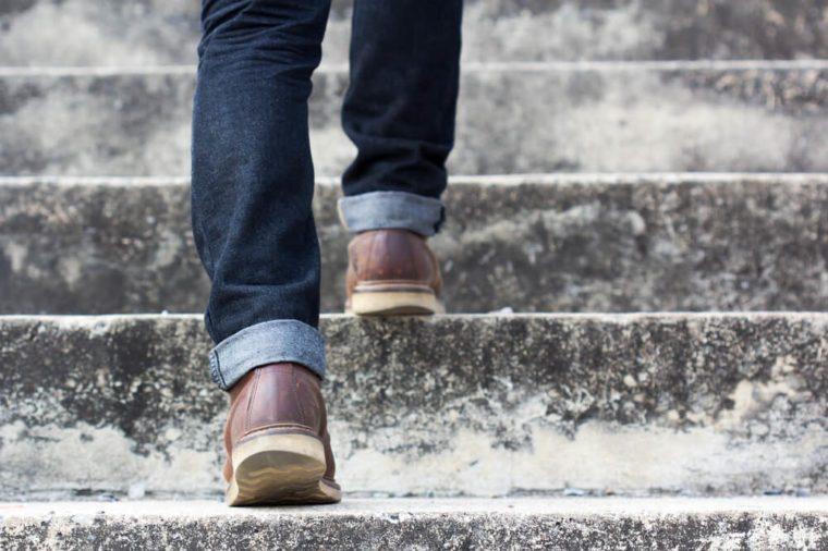 Man climbing stairs.