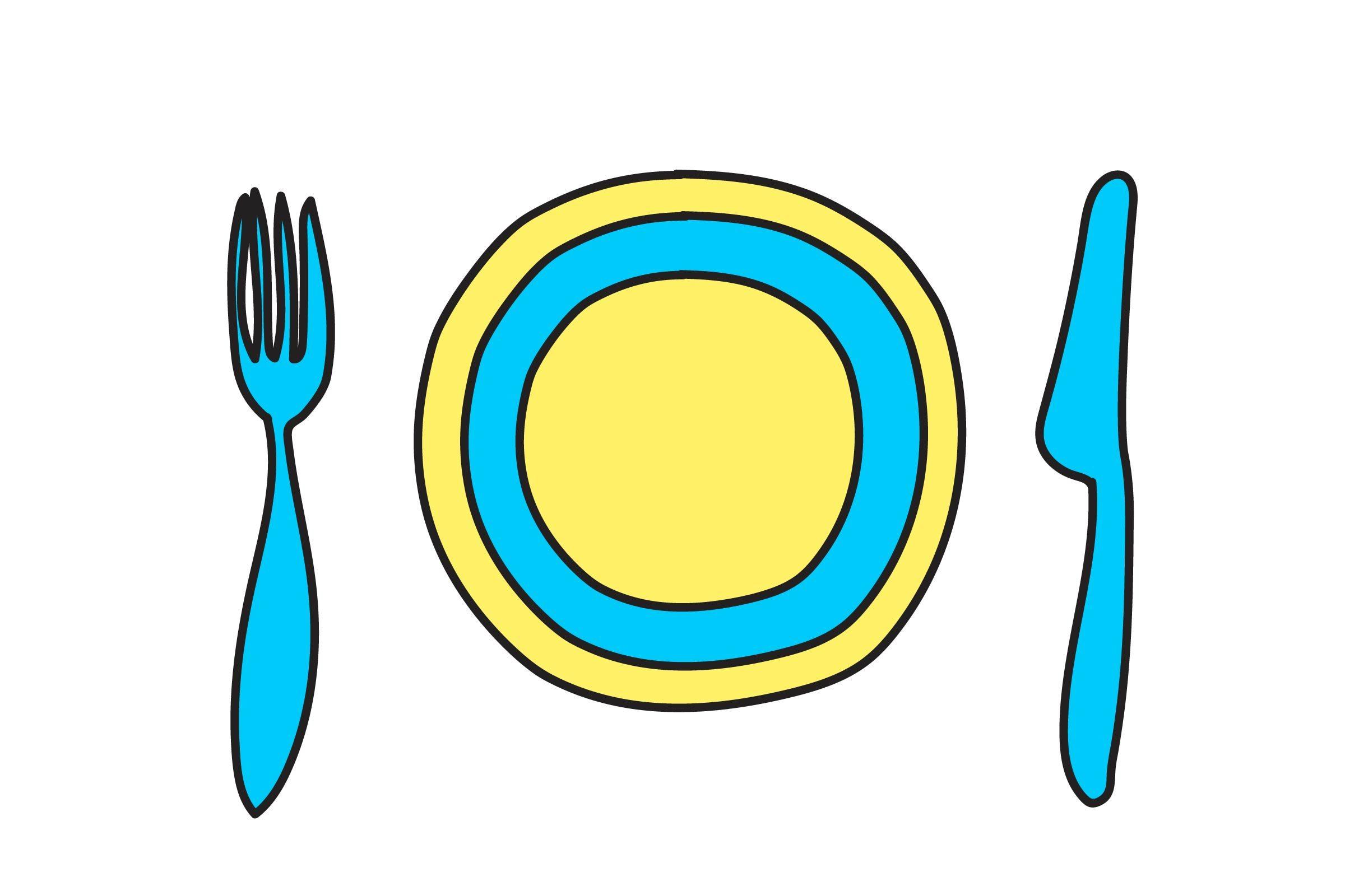 illustration of plate, fork and knife
