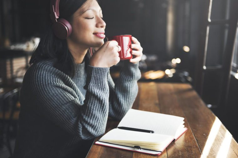Headphone Listening Coffee Drinking Music Concept