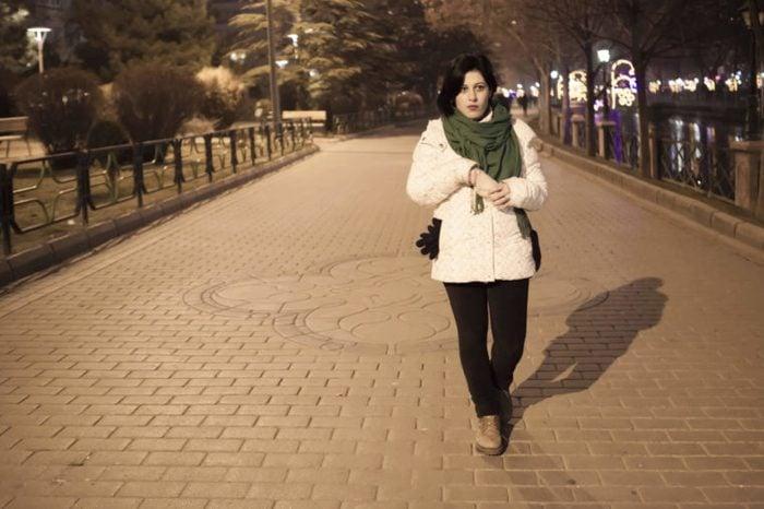 Walking at night in park