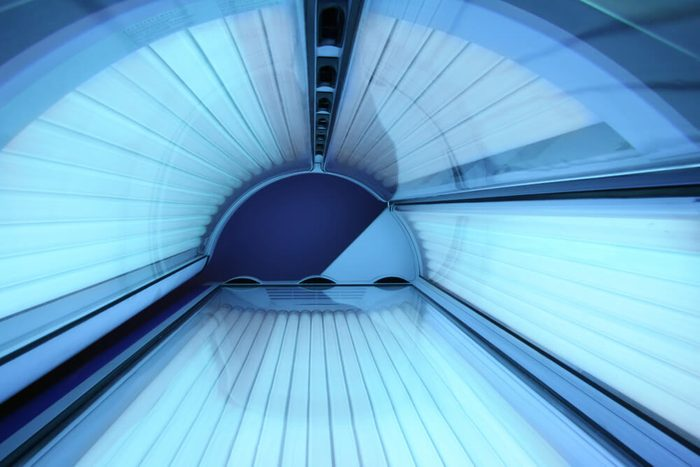 Solarium - tanning bed with closed lid and all lights on