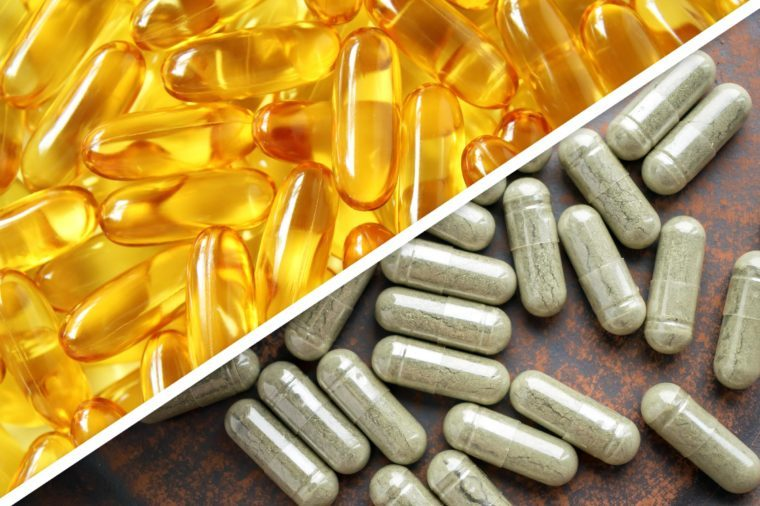 fish oil capsules next to green capsules