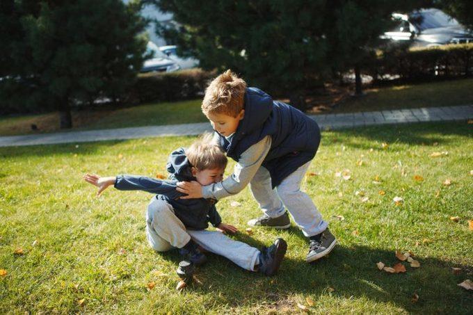 children brothers kids fighting push