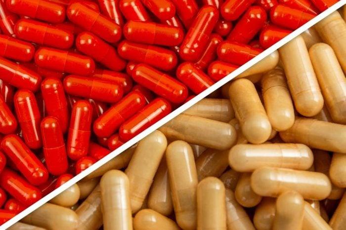red capsules next to tan capsules