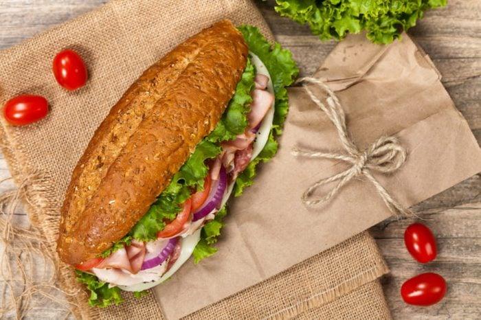 Italian Sub Sandwich with Salami, Tomato, and Lettuce