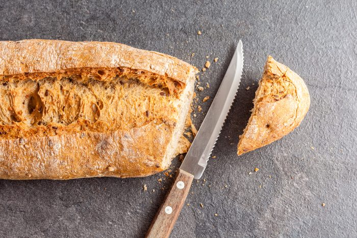 Sliced bread and knife