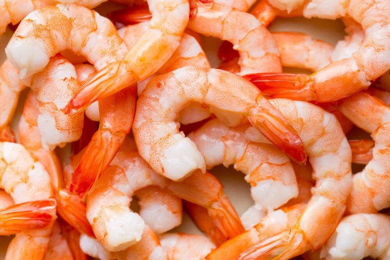 Top view of tasty prawns.